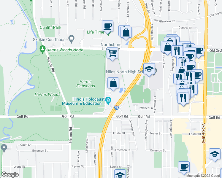 map of restaurants, bars, coffee shops, grocery stores, and more near 9739 Woods Drive in Skokie