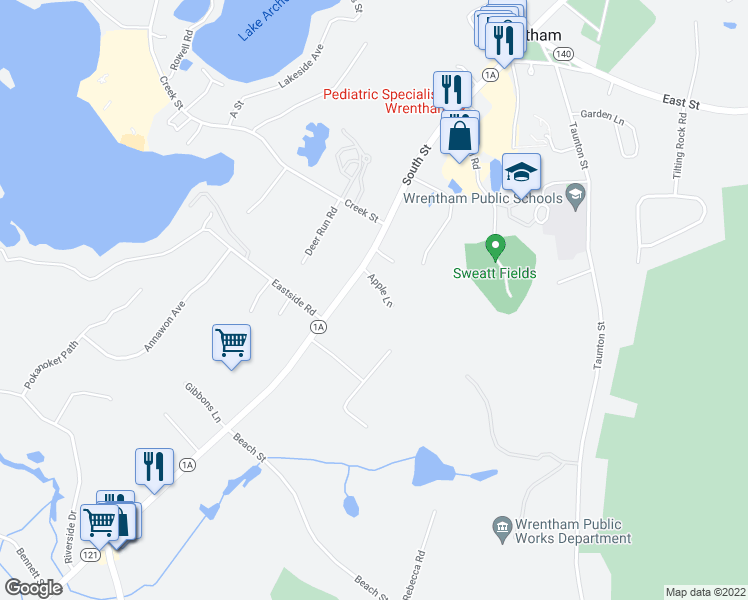 map of restaurants, bars, coffee shops, grocery stores, and more near 40 Apple Lane in Wrentham