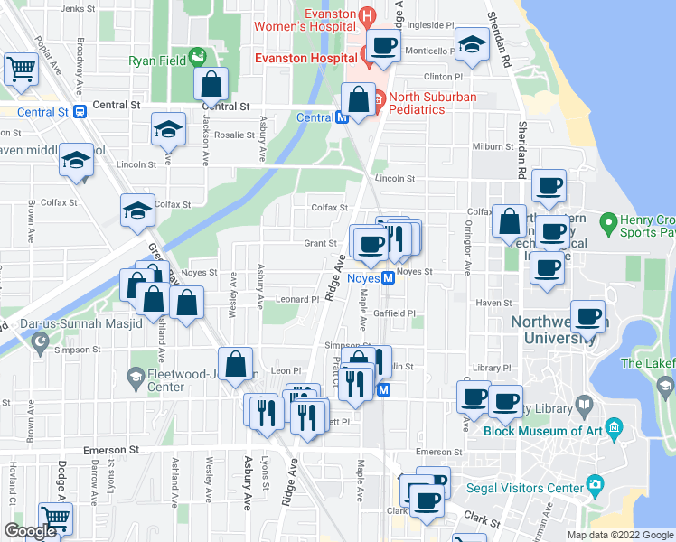 map of restaurants, bars, coffee shops, grocery stores, and more near Ridge Ave & Noyes St in Evanston