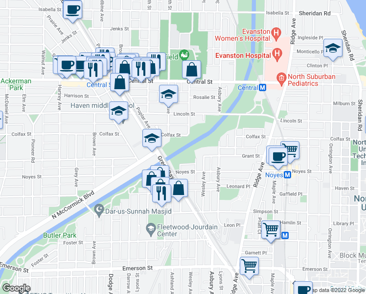 map of restaurants, bars, coffee shops, grocery stores, and more near 1231 Asbury Avenue in Evanston