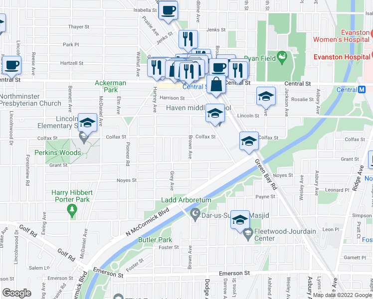 map of restaurants, bars, coffee shops, grocery stores, and more near 2316 Brown Avenue in Evanston