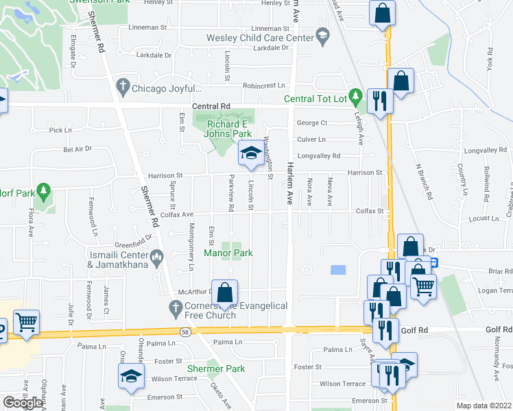 map of restaurants, bars, coffee shops, grocery stores, and more near 315 Lincoln Street in Glenview