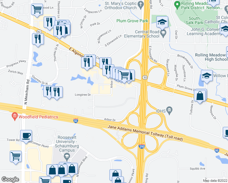 map of restaurants, bars, coffee shops, grocery stores, and more near 4700 Arbor Drive in Rolling Meadows
