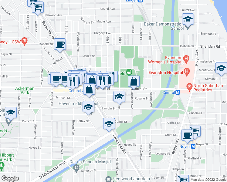 map of restaurants, bars, coffee shops, grocery stores, and more near 1620 Central Street in Evanston