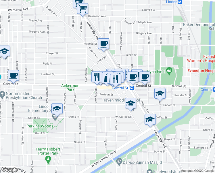 map of restaurants, bars, coffee shops, grocery stores, and more near 2623 Stewart Avenue in Evanston