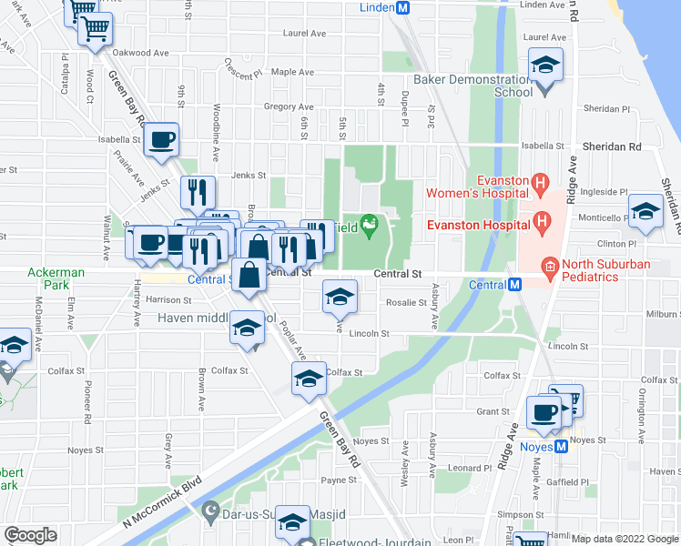 map of restaurants, bars, coffee shops, grocery stores, and more near Central Street & Ashland Avenue in Evanston