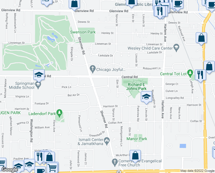 map of restaurants, bars, coffee shops, grocery stores, and more near 506 Briarhill Lane in Glenview