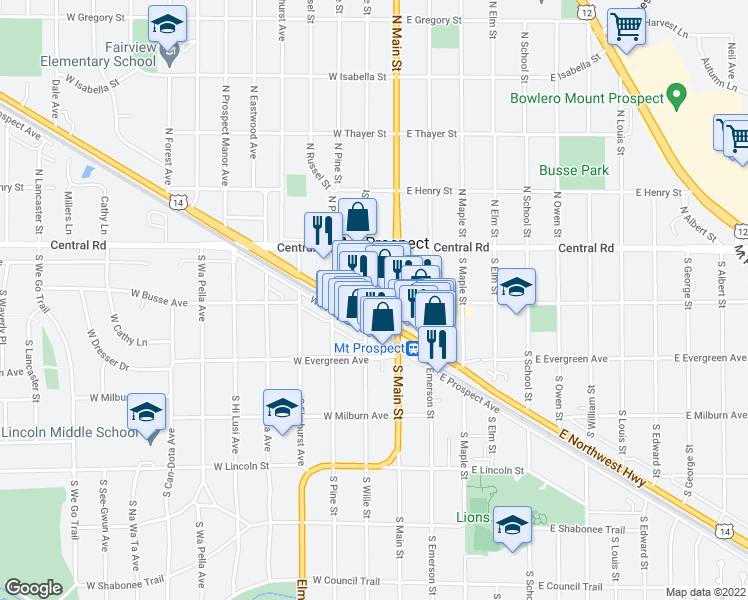 map of restaurants, bars, coffee shops, grocery stores, and more near 20 West Northwest Highway in Mount Prospect
