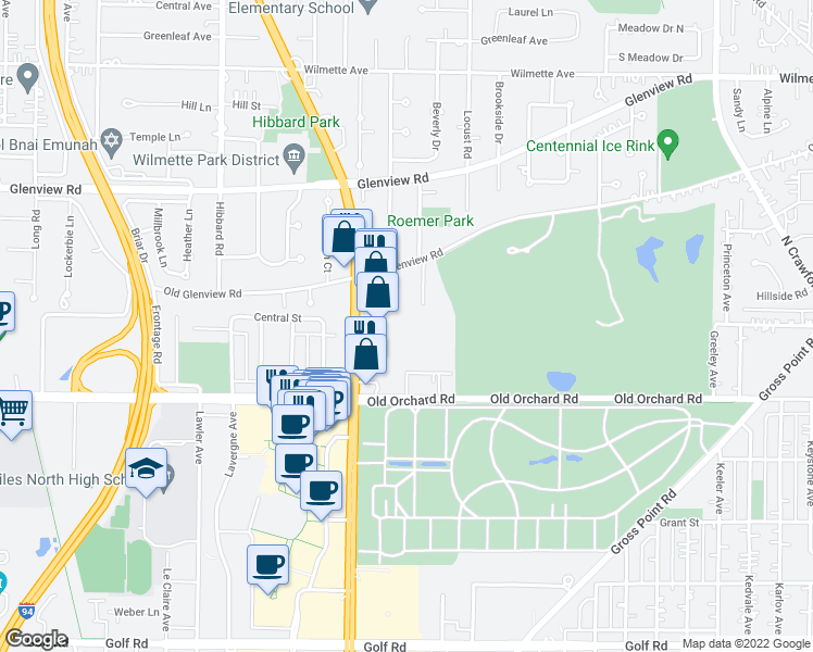 map of restaurants, bars, coffee shops, grocery stores, and more near 10117 Old Orchard Court in Skokie
