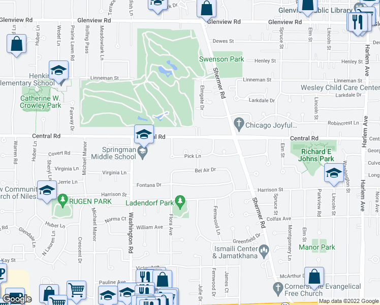 map of restaurants, bars, coffee shops, grocery stores, and more near 2520 Pick Drive in Glenview