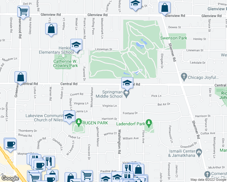 map of restaurants, bars, coffee shops, grocery stores, and more near 2751 Karen Lane in Glenview