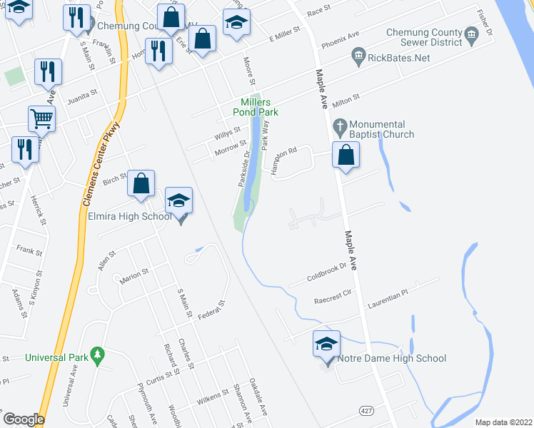 map of restaurants, bars, coffee shops, grocery stores, and more near 0 Elmira Street in Elmira
