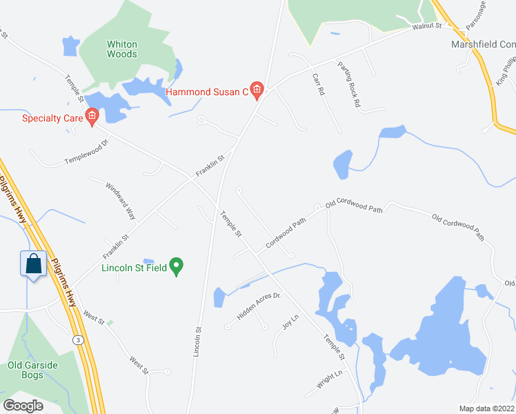 map of restaurants, bars, coffee shops, grocery stores, and more near 12 Jeremiah Drive in Duxbury