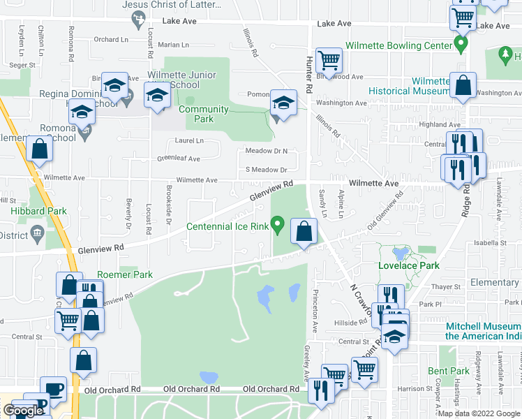 map of restaurants, bars, coffee shops, grocery stores, and more near 414 Vine Court in Wilmette