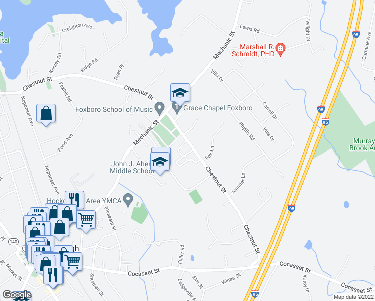 map of restaurants, bars, coffee shops, grocery stores, and more near 135 Chestnut Street in Foxboro
