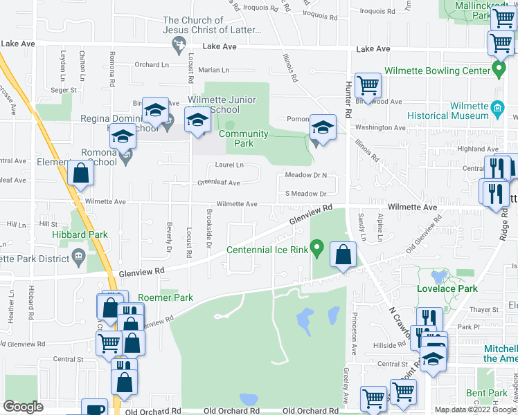 map of restaurants, bars, coffee shops, grocery stores, and more near 2515 Wilmette Avenue in Wilmette