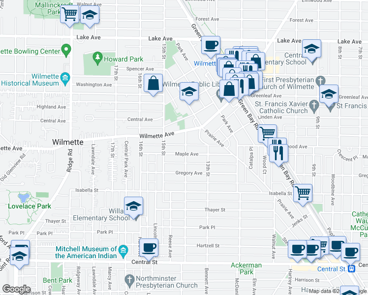map of restaurants, bars, coffee shops, grocery stores, and more near 323 14th Street in Wilmette