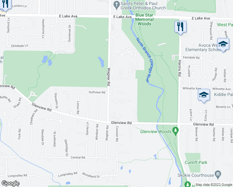 map of restaurants, bars, coffee shops, grocery stores, and more near 839 Eastwood Lane in Glenview