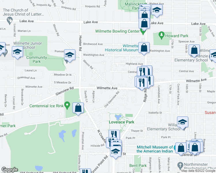 map of restaurants, bars, coffee shops, grocery stores, and more near 2120 Wilmette Avenue in Wilmette