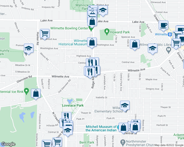 map of restaurants, bars, coffee shops, grocery stores, and more near in Wilmette