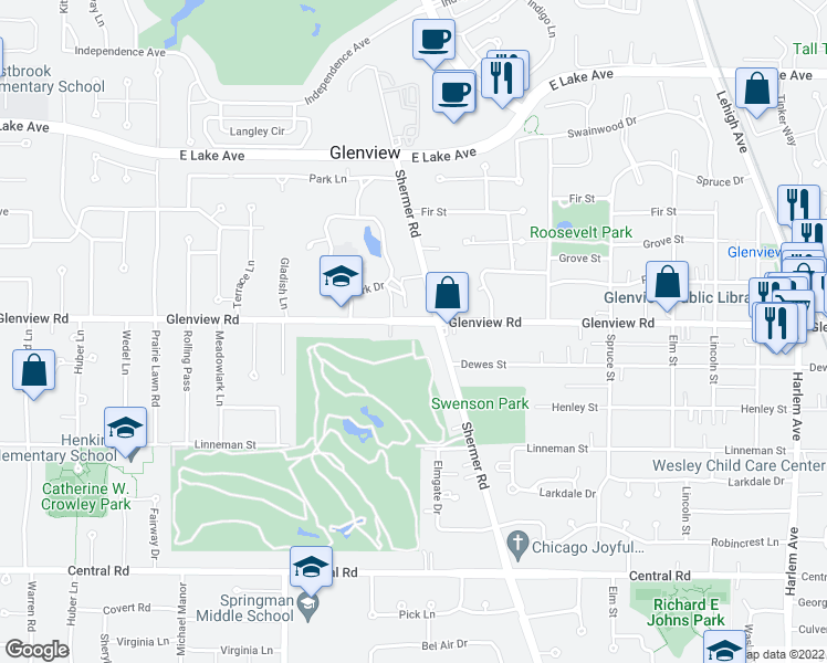 map of restaurants, bars, coffee shops, grocery stores, and more near 2521 Glenview Road in Glenview