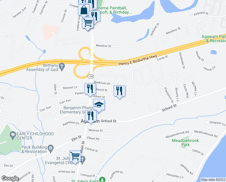 map of restaurants, bars, coffee shops, grocery stores, and more near 62 Edward Street in Agawam