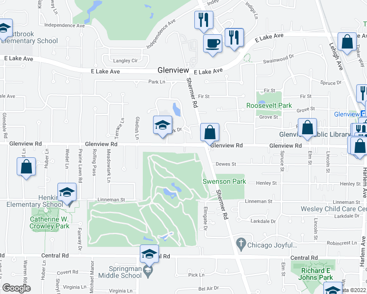 map of restaurants, bars, coffee shops, grocery stores, and more near 2545 Glenview Road in Glenview