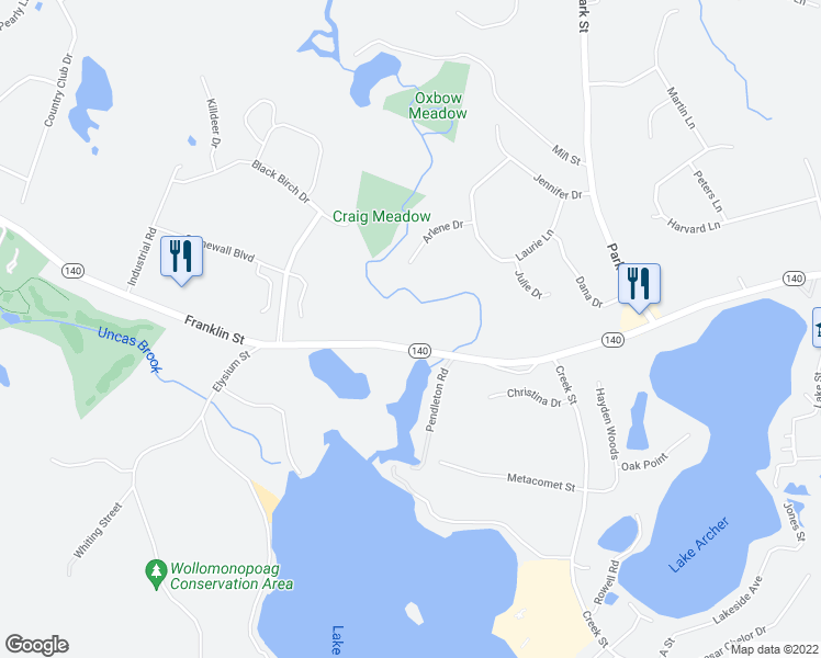 map of restaurants, bars, coffee shops, grocery stores, and more near 658 Franklin Street in Wrentham