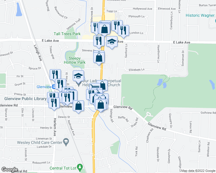map of restaurants, bars, coffee shops, grocery stores, and more near 1134 Vernon Drive in Glenview