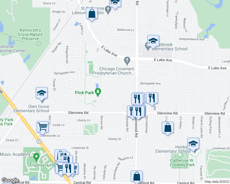 map of restaurants, bars, coffee shops, grocery stores, and more near 1128 Highland Ln in Glenview