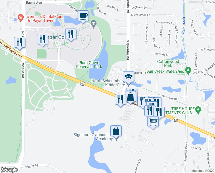 map of restaurants, bars, coffee shops, grocery stores, and more near 522 East Algonquin Road in Schaumburg