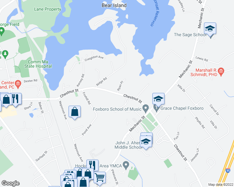 map of restaurants, bars, coffee shops, grocery stores, and more near 94 Chestnut Street in Foxborough