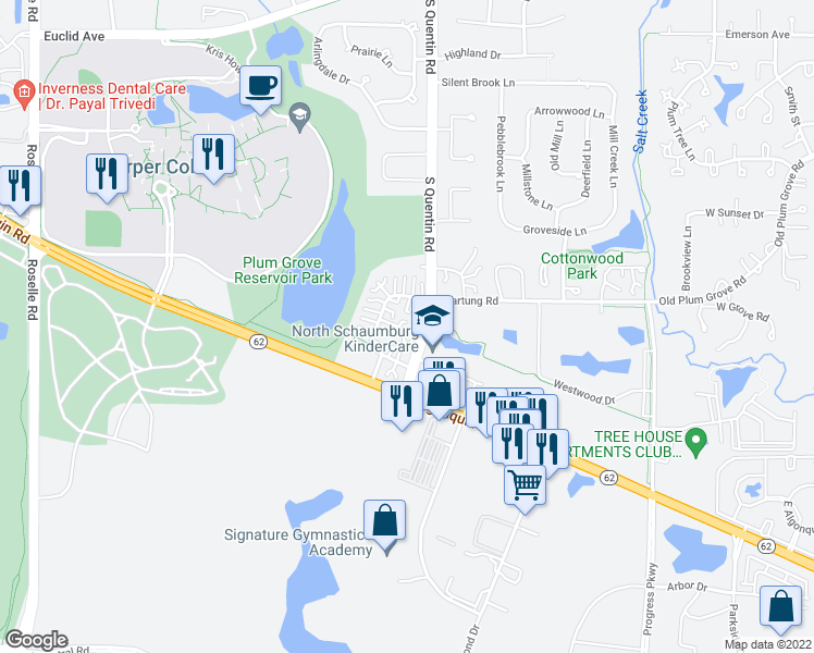map of restaurants, bars, coffee shops, grocery stores, and more near 2643 College Hill Circle in Schaumburg