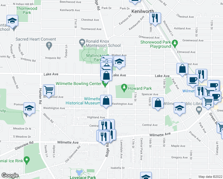 map of restaurants, bars, coffee shops, grocery stores, and more near 800 Ridge Road in Wilmette