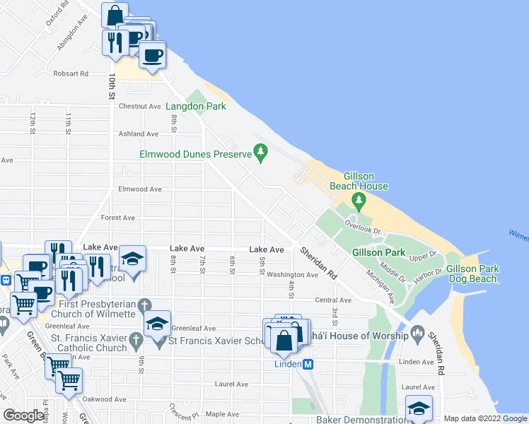 map of restaurants, bars, coffee shops, grocery stores, and more near 1000 Sheridan Road in Wilmette