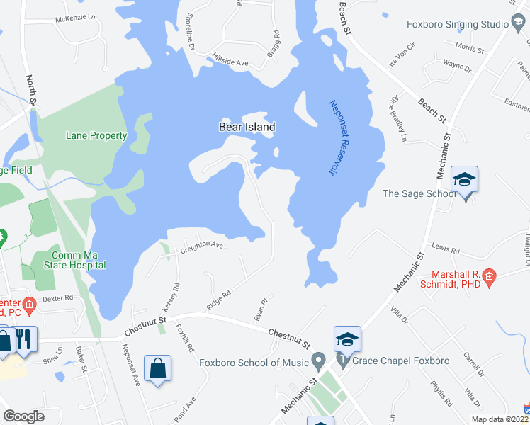 map of restaurants, bars, coffee shops, grocery stores, and more near Ridge Road in Foxborough