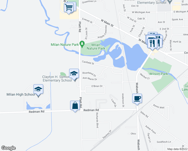 map of restaurants, bars, coffee shops, grocery stores, and more near Riverbend Drive in Milan