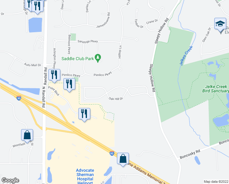 map of restaurants, bars, coffee shops, grocery stores, and more near 36W517 Hickory Hollow Drive in Kane County