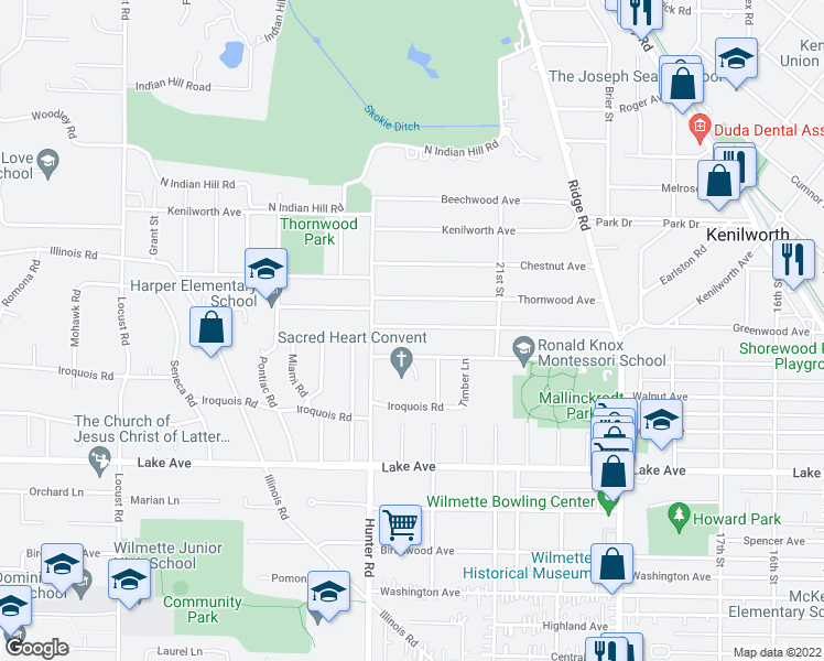 map of restaurants, bars, coffee shops, grocery stores, and more near 2237 Greenwood Avenue in Wilmette