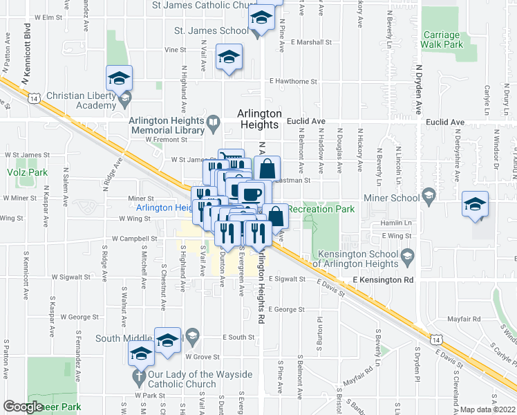 map of restaurants, bars, coffee shops, grocery stores, and more near 180 North Arlington Heights Road in Arlington Heights