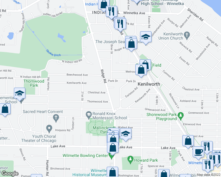 map of restaurants, bars, coffee shops, grocery stores, and more near 640 Kenilworth Terrace in Kenilworth