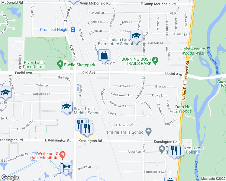 map of restaurants, bars, coffee shops, grocery stores, and more near 1802 East Basswood Lane in Mount Prospect
