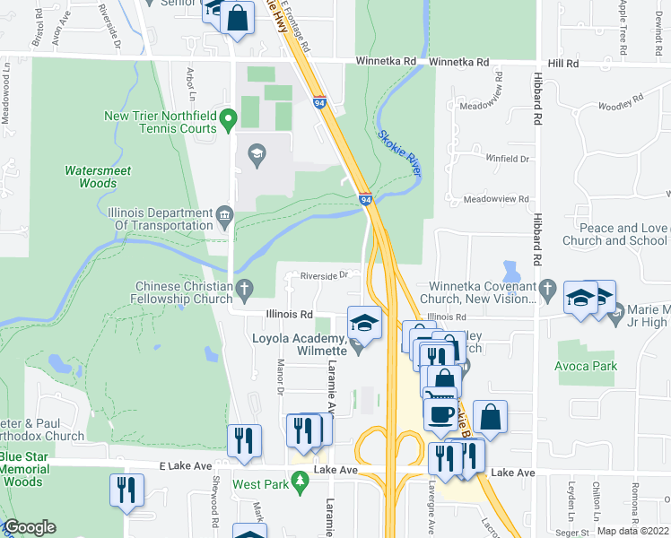 map of restaurants, bars, coffee shops, grocery stores, and more near 3450 Riverside Drive in Wilmette