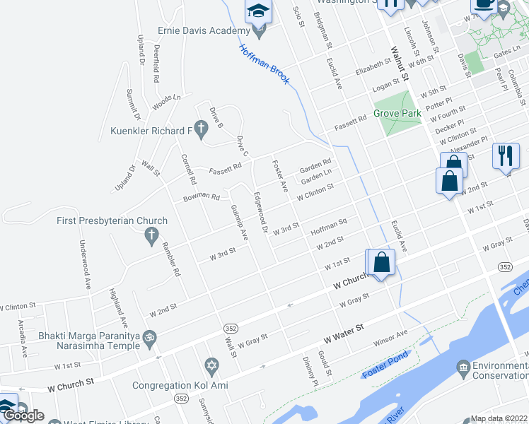 map of restaurants, bars, coffee shops, grocery stores, and more near West Clinton Street in Elmira