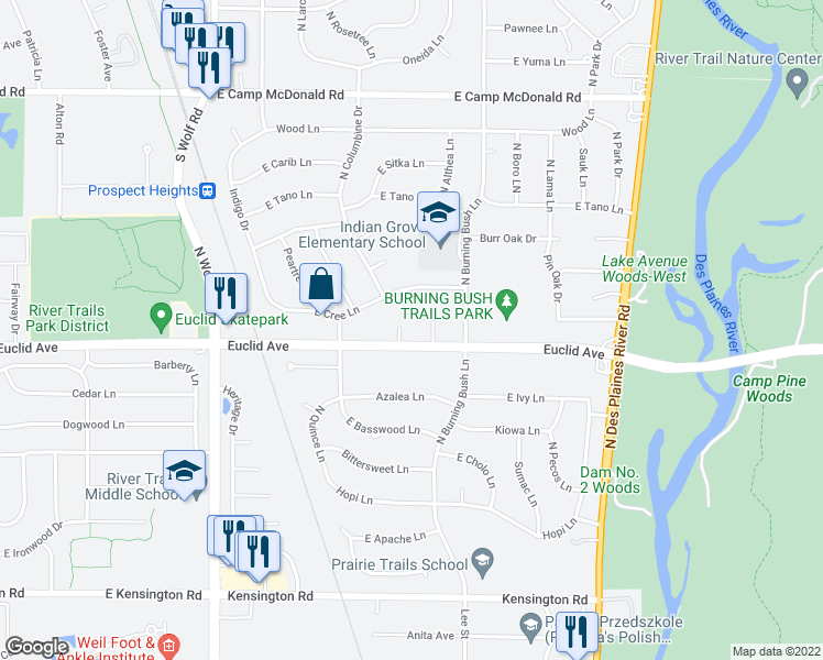 map of restaurants, bars, coffee shops, grocery stores, and more near 1303 North Santee Lane in Mount Prospect