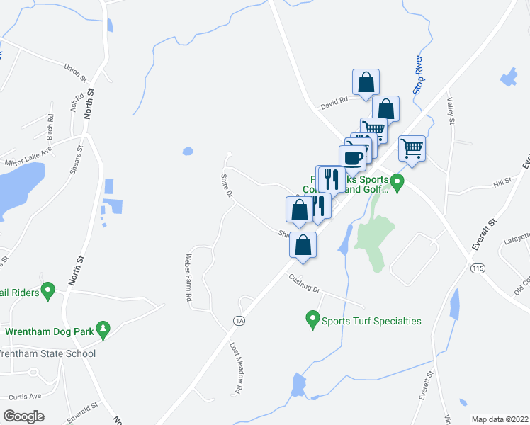 map of restaurants, bars, coffee shops, grocery stores, and more near 8 Shire Drive in Norfolk
