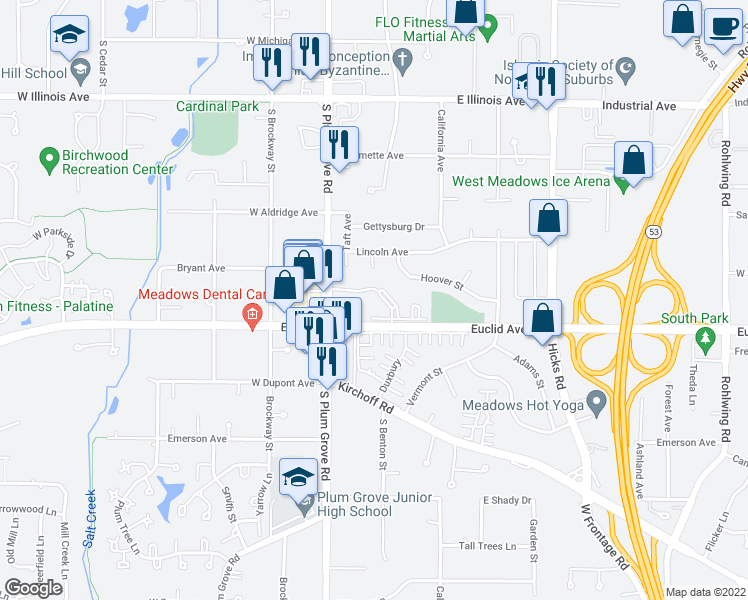 map of restaurants, bars, coffee shops, grocery stores, and more near 4616 Kings Walk Drive in Rolling Meadows