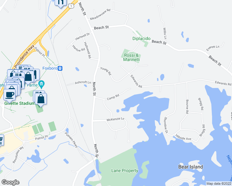 map of restaurants, bars, coffee shops, grocery stores, and more near 17 Camp Road in Foxborough
