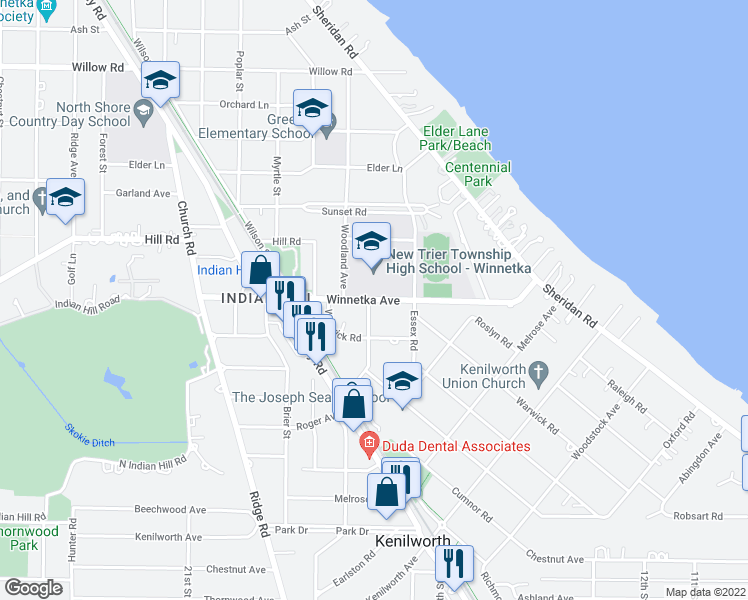 map of restaurants, bars, coffee shops, grocery stores, and more near 366 Winnetka Avenue in Winnetka