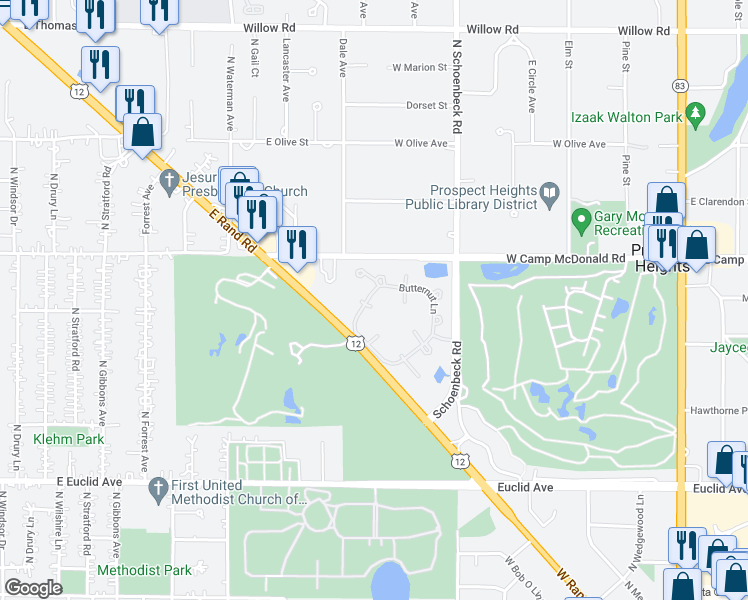 map of restaurants, bars, coffee shops, grocery stores, and more near 1001 Butternut Lane in Mount Prospect
